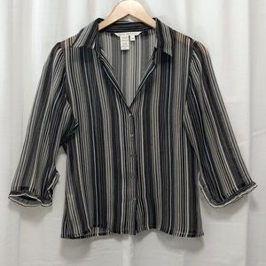 Max Studio sheer silk striped blouse M